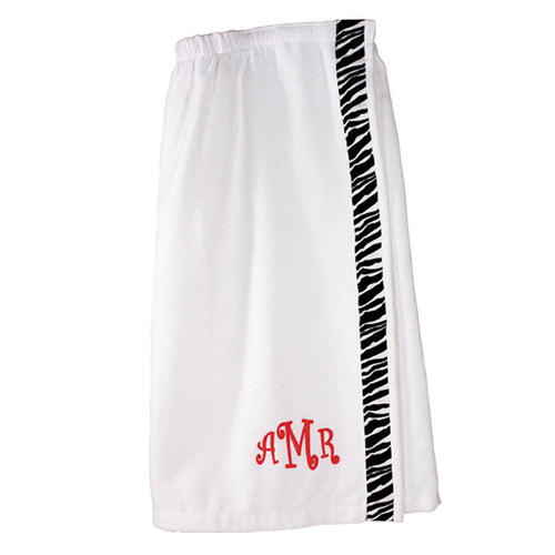 Monogrammed Spa Wrap White With Zebra Trim