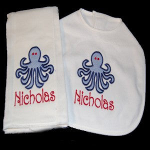 Preppy Baby  Octopus Applique Bib and Burp