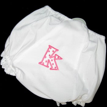 Baby Bloomers With Polka Dot Initial