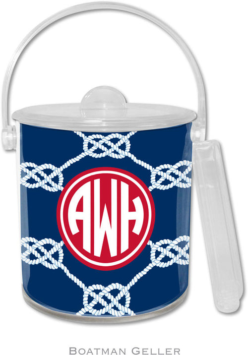 Nautical Knot Navy Personalized Ice Bucket