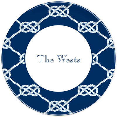 Set of 2 Personalized Plate Nautical Knot Navy