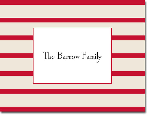 Nautical Stripe Red personalized stationery