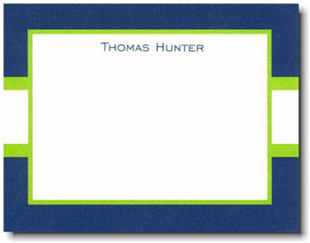 Navy & Lime Stripe personalized stationery