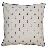 Canvas Pillow Cover 12 x 12 Navy Anchors