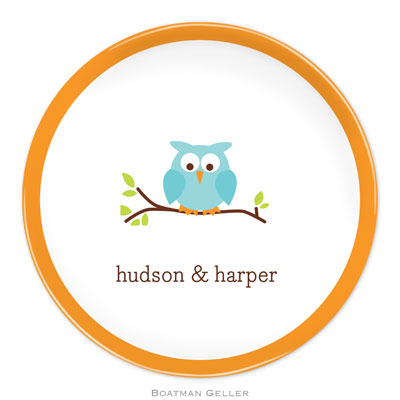 Set of 2 Personalized Plate Owl