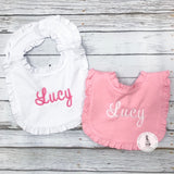 Personalized Ruffle Trim Baby Bibs Choose Color