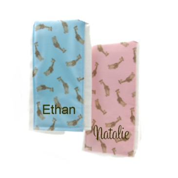 Personalized Burp Cloth Giraffe Print- Pink or Blue