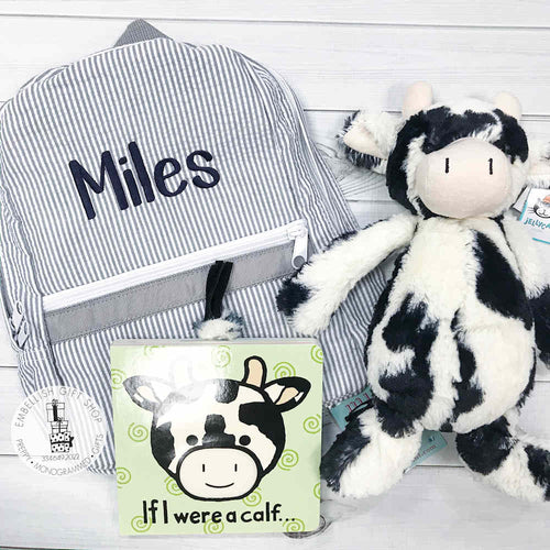 BABY PLUSH COW GIFT SET BACKPACK & BOOK