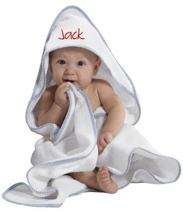 Monogrammed Baby Hooded Towels-Choose Trim