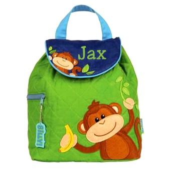 Personalized Quilted Toddler Backpack Boy Monkey