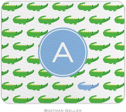 Alligator Repeat Blue Personalized Mousepad
