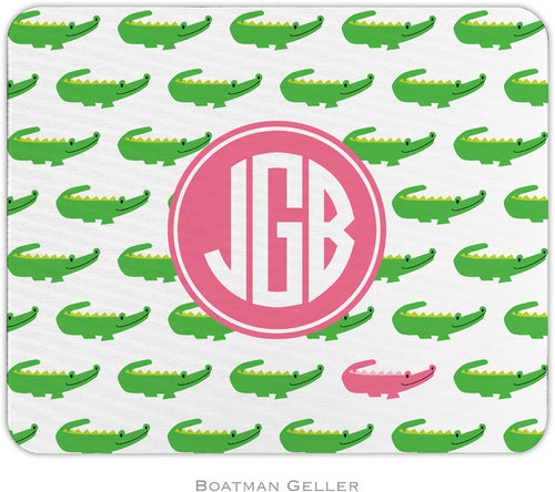 Alligator Repeat Pink and Green Personalized Mousepad