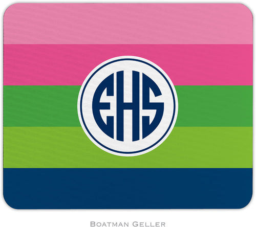 Bold Stripe Pink Green & Navy Personalized Mousepad