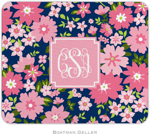 Caroline Floral Preppy Pink Personalized Mousepad
