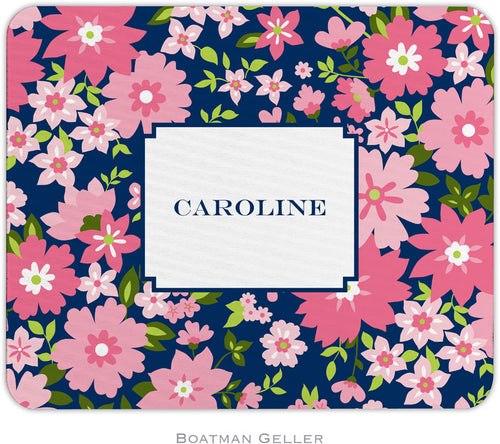 Caroline Floral Pink Personalized Mousepad