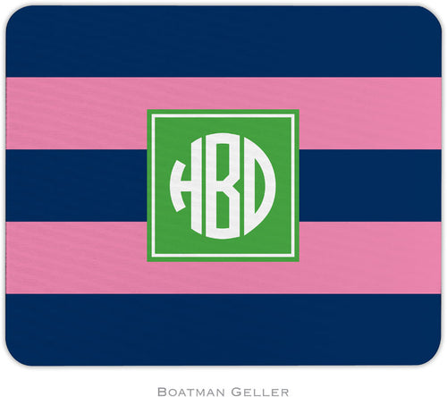 Rugby Navy & Pink Preset Personalized Mousepad