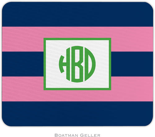 Rugby Navy & Pink Personalized Mousepad