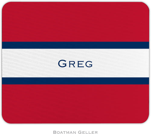 Stripe Red & Navy Personalized Mousepad