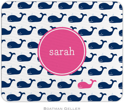 Whale Repeat Navy Pink Personalized Mousepad
