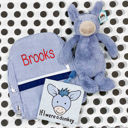 Personalized Gift Set Donkey Book & Backpack