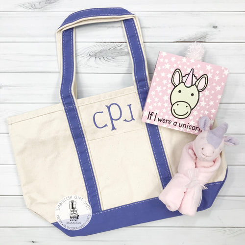 Personalized Boat Tote and  Unicorn Book with Lovie Set