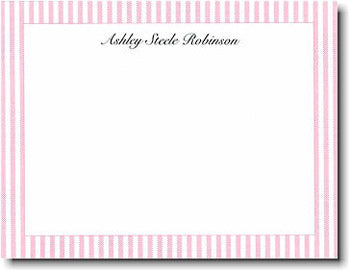 Pink Seersucker personalized stationery