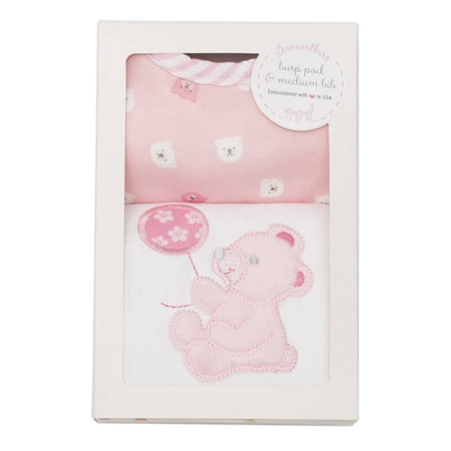 Pink Bear Medium Bib & Burp Box Set