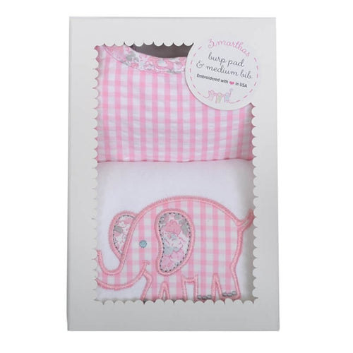 Pink Elephant Bib & Burp Box Set