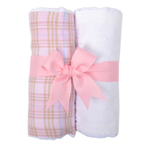 Personalized Pink Plaid Set of 2 Fabric Burp Pads