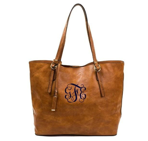2 in 1 Monogrammed Tote Bag-Choose Color