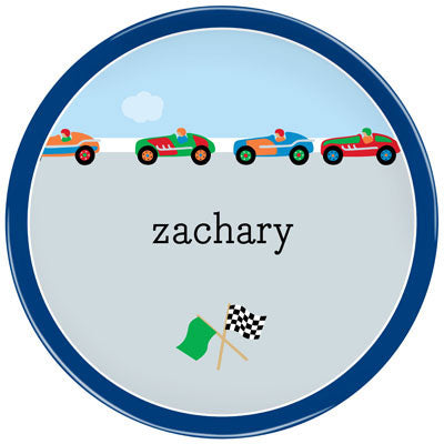Set of 2 Personalized Plate Race Cars