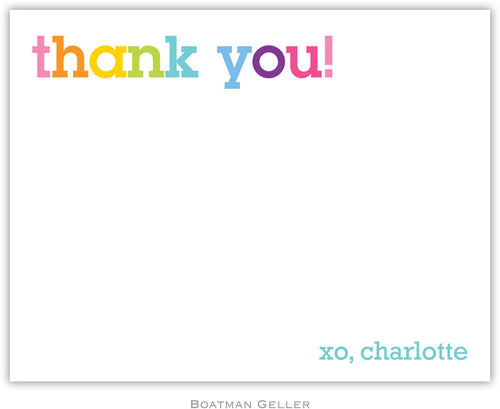 Rainbow Thank You personalized stationery