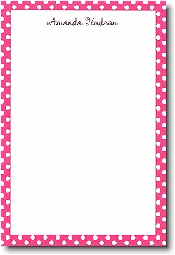 Raspberry Polka Dot notepad