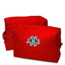 Monogrammed Red Quilted Cosmetic Bags