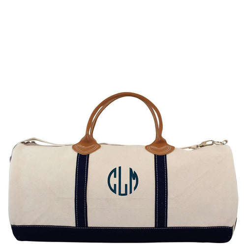 Round Duffel Choose Color Navy with Monogram