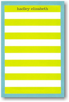 Rugby Stripe Lime/Blue Border notepad