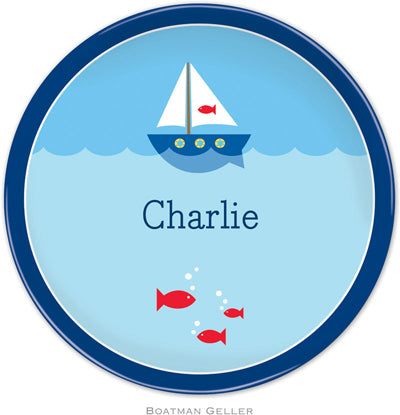 Set of 2 Personalized Plate Sailboat