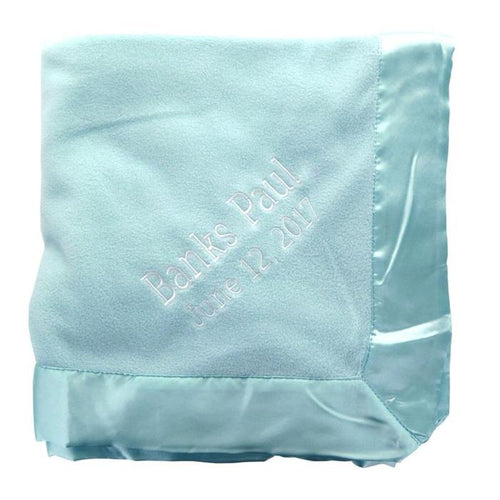 Satin Lined Fleece Baby Blanket- Pink or Blue