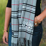Monogram Plaid Scarf - Charcoal Cashmere Feel