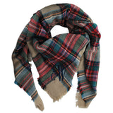 Monogram Blanket Scarf - Tan Plaid