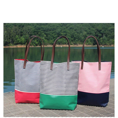 Seaport Stripes Dipped Tote Choose Color