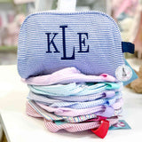 Monogrammed Seersucker Toiletry Bags