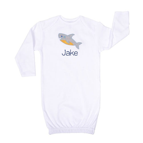 Personalized Newborn Baby Gown Shark