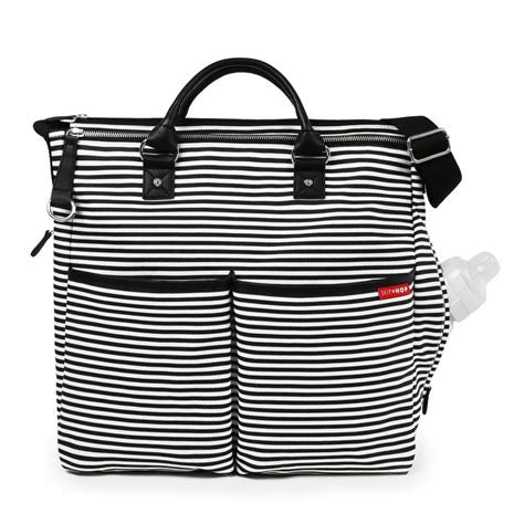 Black and White Stripe Duo Signature Personalized Diaper Bag with 1 Free Burp Cloth