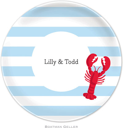 Set of 2 Personalized Plate Stripe Lobster