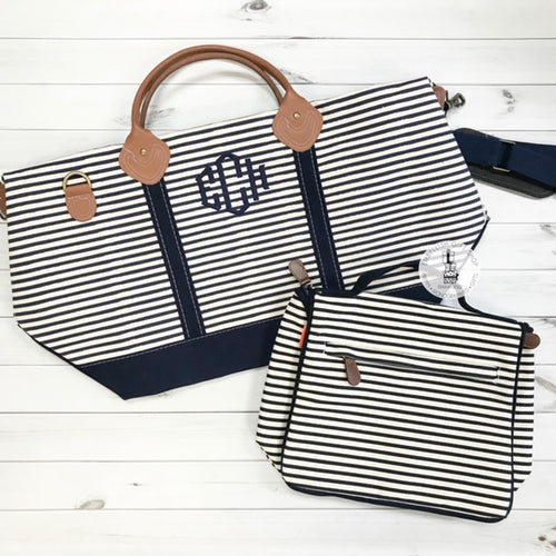 Stripe Weekender + Toiletry Bag Gift Set