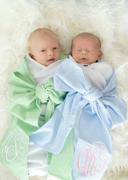 Swaddle Blankets With Cotton Seersucker Bow