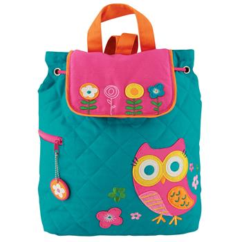 Personalized Quilted Toddler Backpack Teal Owl