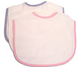 Monogrammed Baby Bib With Stripe Piping Trim