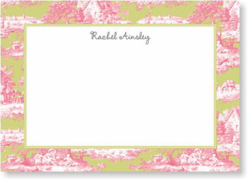 Toile Magenta & Green personalized stationery